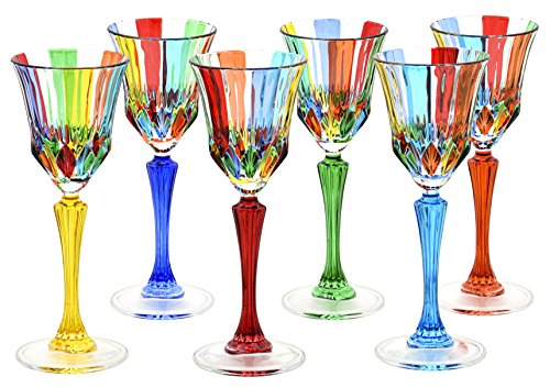 CALICE ADAGIO Glasses Liquor Crystal Hand Painted Traditional Technique Colors Venice-Multi-colored by Boteghe - Real Made in Italy