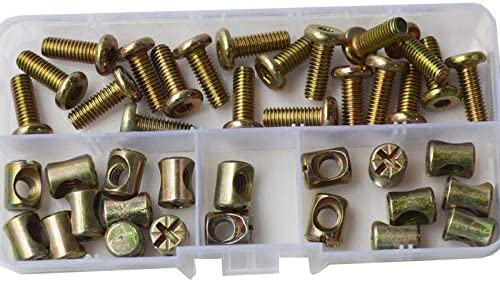 M6X35mm Furniture Barrel Screws Zinc Plated Metric Hex Drive Socket Cap Bolt Nuts Assortment Kit for Furniture Parts Cots Beds Crib and Chairs Bookcase Hardware 40pcs ALBERT GUY