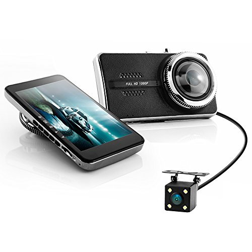 Price comparison product image Dual Lens Dash Cam 4'' IPS LECCER 1080P Dash Camera with Rear Camera 170°Wide Angle On Dash Camera Ultra Thin Car Recorder with G-sensor,  WDR,  Motion detect,  Loop Recording,  Superior Night Mode