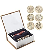 Wax Stamp Set, 8 PCS Wax Seal Stamp Brass Heads and 1 PCS Wooden Handle, Arts & Crafts Vintage Adhesive Sealing Wax Stamp Kit Gift for Envelope Postcard Label Wedding Invitation