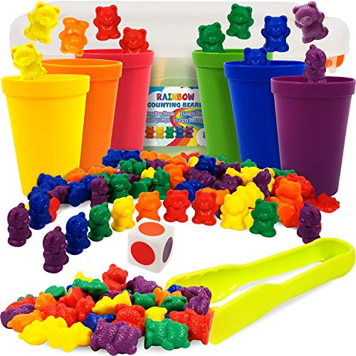 RAINBOW Bears Cups Counting Bears with Matching Color Cups Counting Rainbow Bears with Color Sorting Cups and Colorful Dice and Tweezers Educational Toy for Toddler Teach Color Recognition