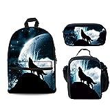 FOR U DESIGNS Whistling Wolf School Shoulder Backpacks Kid's Teen Boys Girls Bookbags Pencilcase Lunchbox 3 Picec/Set