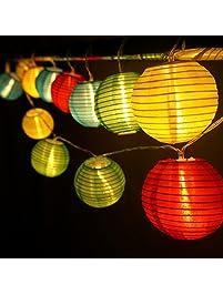 hqoon globe string lights with mini nylon lantern led fairy decorative lights 3 aa - Decorative String Lights