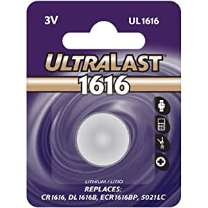 Ultralast UL-1616 Lithium Button Cell Battery DL1616B and ECR-1616BP Equivalent (Discontinued by Manufacturer)