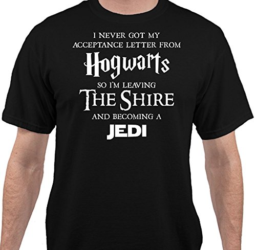 [Hogwarts Harry Potter Star Wars Jedi Inspired Funny Slogan Men's T-Shirt - Black - 2XLarge] (Cheap Star Wars Shirts)