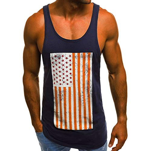 Toponly Men Tank Tops,Boys Plus Size Athletic Muscle Build Tactical Tee Vest American Flag Print Patriotic Sleeveless Blouse Tops