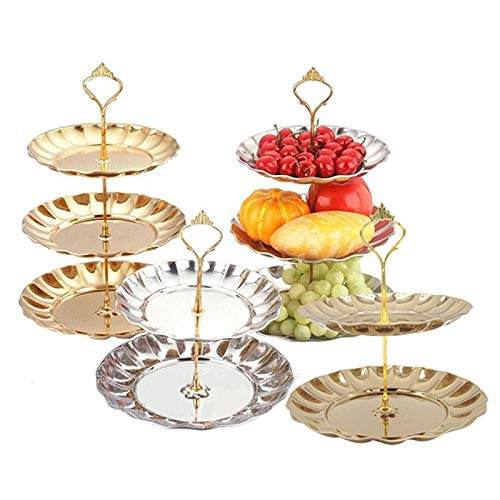 1 Set Zinc Alloy Fruit Kitchen Dish Plate Handle 2/3 Tier Cake Dish Rack Tray For Home Party Birthday Wedding Decoration