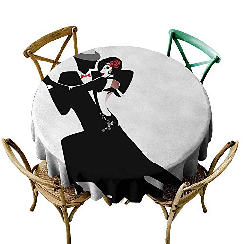 (Oncegod Water Resistant Table Cloth Girls Man and Woman Partners Romantic Dance Tango Waltz Love Valentines Rhythm Music Art Table Cover for Home Restaurant 50 INCH Black White)