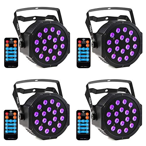 CrtWorld Black Light 18 LED Blacklight With DMX IR Remote Control UV Lighting Glow In The Dark Supplies for Halloween Wedding Christmas Party(4 Pack)