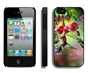 Fashion And Unique iPhone 4S Case Designed With Hummingbird Painting Black iPhone 4S Cover