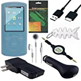 8 Piece Premium Value Combo Accessory Bundle Kit: Clear Silicone Skin Case Cover + USB Car Charger + USB Wall / Travel / AC Adapter Charger + USB 2in1 Data Sync Cable + White Stereo Headphone + 3.5mm Aux Retractable Cable + Screen Protector / Guard + Fish