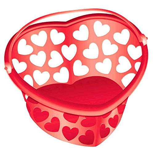 Amscan 267865.40 Red Heart Shaped Plastic Container party-supplies, One Size,