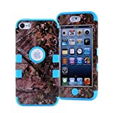 iPod Touch 5 Case,iPod Touch 6 Case,LOOKLY 3 in 1 Hybrid Shockproof High Impact Camouflage Hunting Tree Forest Protective [Hard PC+Soft Silicone] Case For Apple iPod touch 5 6th Generation (Sky Blue)