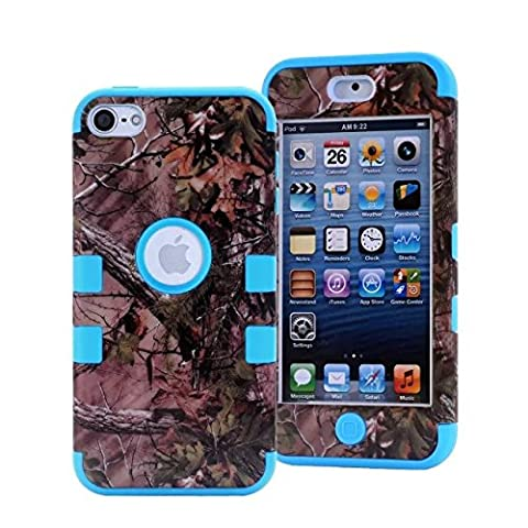 iPod Touch 5 Case,iPod Touch 6 Case,LOOKLY 3 in 1 Hybrid Shockproof High Impact Camouflage Hunting Tree Forest Protective [Hard PC+Soft Silicone] Case For Apple iPod touch 5 6th Generation (Sky (Real Tree Camo Case For Ipod 5)