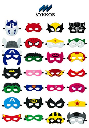 Superhero Party Masks featuring adjustable elastic clip, Long-lasting Superhero party supplies for Halloween, Birthday parties, Christmas-28 pieces-Vykkos -