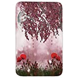 Rectangular Area Rug Mat Rug,Poppy,Dream Garden with Poppies Full Moon Floral Tree Branches Fairy Tale Paradise Scenery,Mauve Red,Home Decor Mat with Non Slip Backing