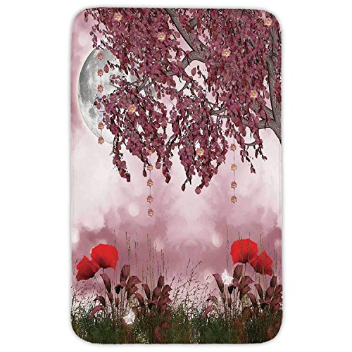 Rectangular Area Rug Mat Rug,Poppy,Dream Garden with Poppies Full Moon Floral Tree Branches Fairy Tale Paradise Scenery,Mauve Red,Home Decor Mat with Non Slip Backing by iPrint