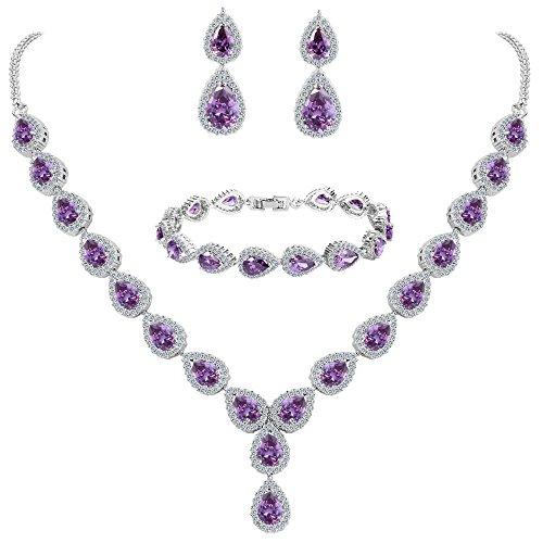 BriLove Women's Wedding Bridal Teardrop CZ Infinity Figure 8 Y-Necklace Tennis Bracelet Dangle Earrings Set Amethyst Color Silver-Tone February (Costume Bridesmaid Jewelry Sets)