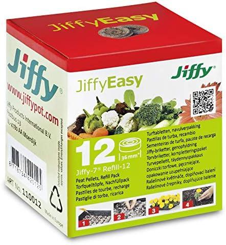 12 St. Jiffy Original Quell-Tabletten 36mm Ø Aussaaterde, Anzuchterde, Torftablette - Torf-Quelltöpfe