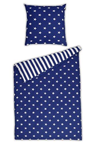 Schiesser Renforcé Bettwäsche Sterne blau / 155 x 220 cm + 80 x 80 cm / 2-teilig / 100% Baumwolle