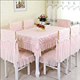 ZnzbztContinental idyllic lace courage empty fabrics Dining Tables Table Cloth cover towel ~round-table tablecloth shawl, White Maple love pink ,150150 (Square)