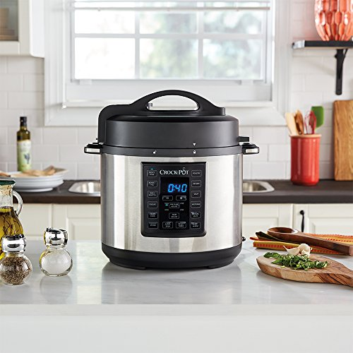 Digital Instant Pot Basket 6 qt Non-Stick Stainless Steel. Pressure Cooker Pot 6 Quart 8-in-1 for Food Prep. Programmable Valve Steamer. Italian Multi Functional Cookbook for Healthy Vegetarian Meal