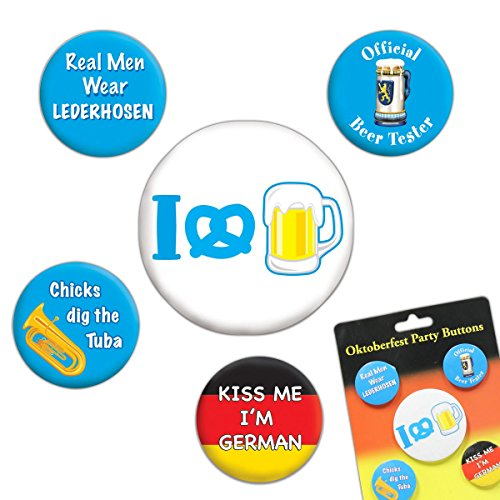 [Oktoberfest Party Buttons (asstd designs)    (5/Pkg)] (Oktoberfest Costumes Party City)
