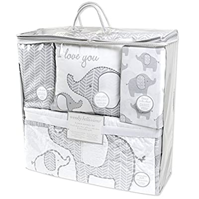 Wendy Bellissimo 4pc Nursery Bedding Baby Crib Bedding Set - Elephant Whale Floral Bedding in Navy Grey White Pink Turquoise
