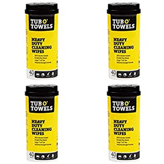"Tub O Towels Heavy-Duty 7"" x 8"" Size Multi-Surface Cleaning Wipes, 40 Count Per Canister - 4 Pack"