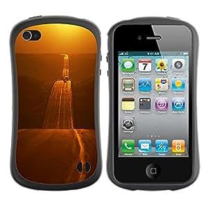 "Hypernova Slim Fit Dual Barniz Protector Caso Case Funda Para Apple iPhone 4 / iPhone 4S [Camino del Oro Libertad Abrir carretera""]"