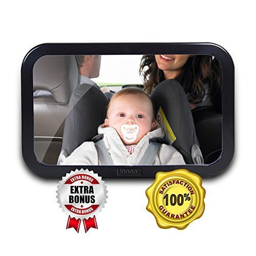Amazon Lightning Deal 90% claimed: Innoo Tech Baby Car Mirror - Shatterproof Tested - Easily See Your Kid in the Backseat - Baby Backseat Mirror - Baby In Car Sign and Cleaning Microfiber Cloth Included