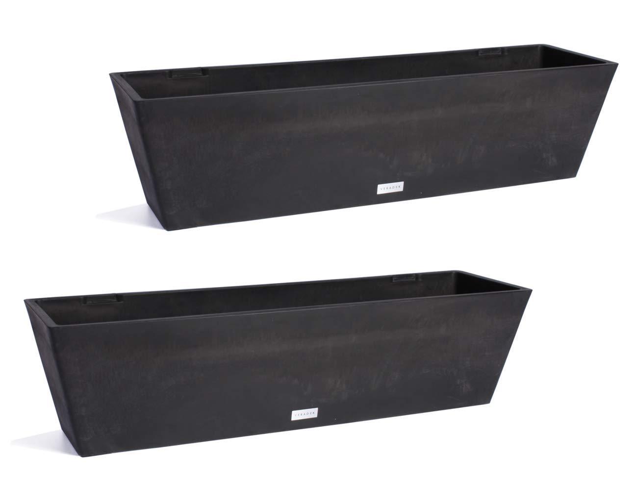 Veradek Window Box Planter - 2 Pack (36 inches, Black)