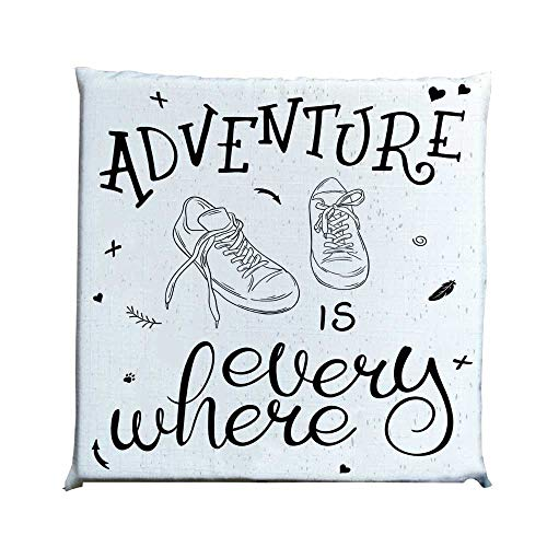 YOLIYANA Adventure Durable Square Chair Pad,Motivational Design Youth Theme with Pair of Sneakers Walking Hiking Wanderlust for Bedroom Living Room,One Size ()