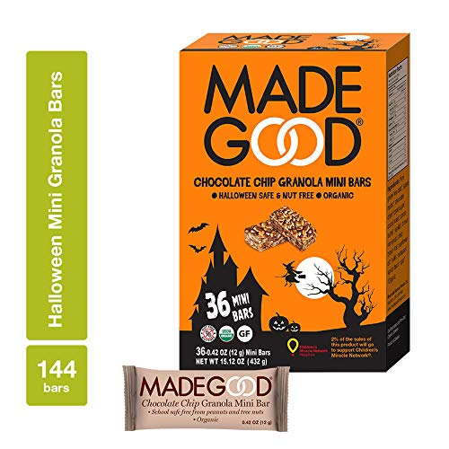 (MadeGood Halloween Chocolate Chip Granola Mini Bars, 4 Boxes (0.42 oz, 144 ct); Organic Gluten-Free Oats and Delicious Chocolate Chips in Shareable, Spooky, Sweet Treats Perfect for)