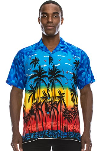 Graphic Tree (JC DISTRO Mens Hipster Hip Hop Palm Tree Graphics Button Up Royal Hawaiian Shirt XL)