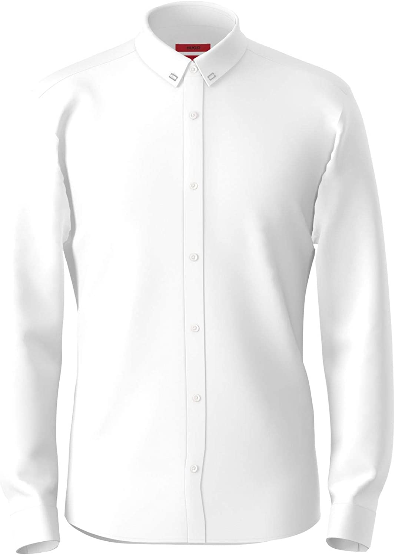 Hugo Boss Mens Button-Down Shirt Extra-Slim Stretch White XL