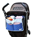 FakeFace Multi-funtional Nylon Zipper Travel Handbag Pouch / Baby Stroller Pram Pushchair Hanging Storage / Bag in Bag / Insert Organizer / Cosmetic Toiletry Bag Pocket / Makeup Bag / Tidy Bag Blue