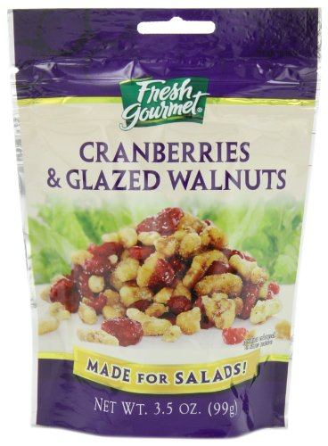Fresh Gourmet Glazed Walnuts and Dried Crandberries, 3.5-Ounce (Pack of 9)