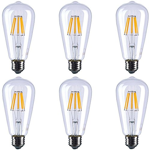 ST21 LED Vintage Filament Bulbs, 6W (60W Equivalent), 720 Lumens, 2700K Warm White, Dimmable, 360° Beam Angle, E26 Base Edison Bulb, ETL Listed, Pack of 6