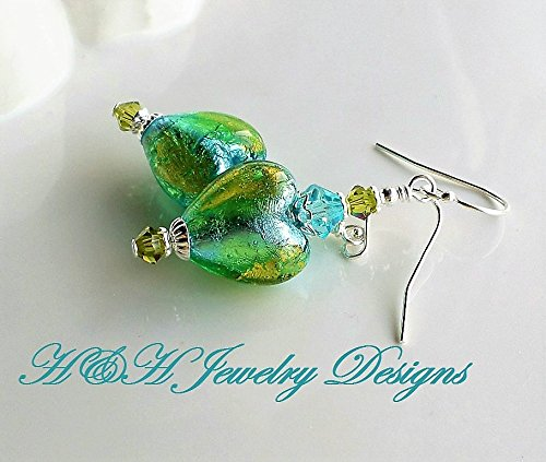 Blue Green Murano Heart Drop Earrings by H&H Jewelry Designs