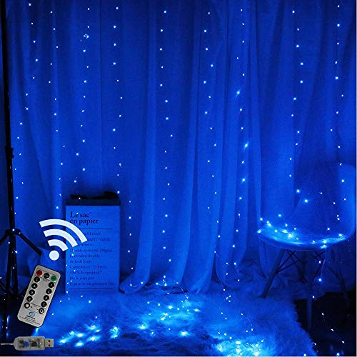 TEALP Window Curtain Lights 200 LED USB Powered Fairy String Lights with Remote, 8 Settings Twinkle Lights for Bedroom Parties,Weddings,Wall Decorations (9.8x6.6Ft Blue)