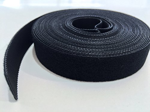 AIRNIX 3/4 in x 20 ft Black Nylon Cable Tie Roll, Double Sided Hook & Loop