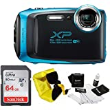 FujiFilm FinePix XP130 Rugged Waterproof WiFi Digital Camera (Sky Blue) + Focus Floating Strap & SanDisk 64GB Card Bundle