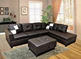 WINPEX 3 Piece Faux Leather Sectional Sofa Set with Free Storage Ottoman +...