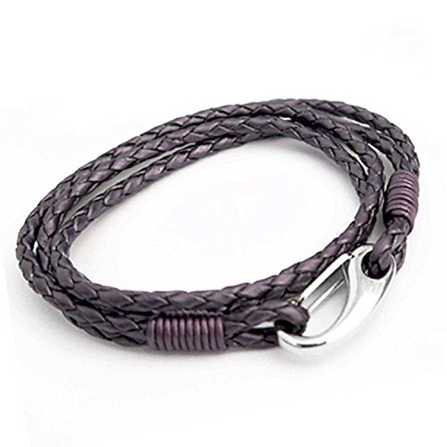 BERRY 3MM Double Wrap 2-Strand Plaited/Braided Leather Bracelet With Stainless Steel Shrimp Clasp - Womens Standard (19cm/7.5 Inch) Double Strand Leather Bracelet