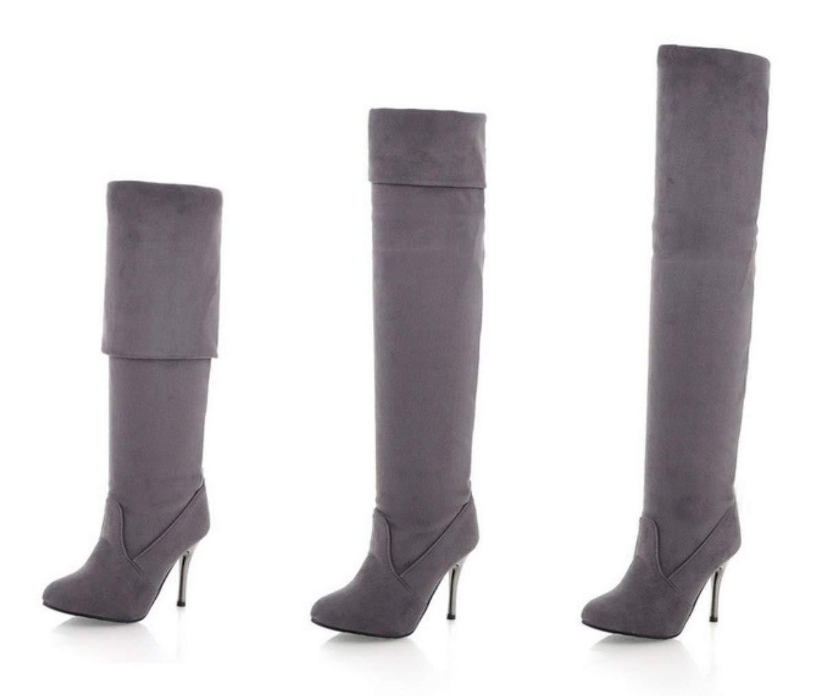 SHANGWU Frauen Super High Ferse Wasserdichte Plattform Plattform Plattform Sexy Overknee Stiefel 2018 Herbst Und Winter Spitzen Frauen Stretch Hochhackige Stiefel (Farbe   grau Plus Velvet, Größe   46) 80b7f0