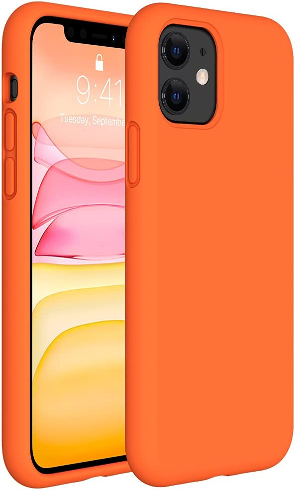 Miracase Liquid Silicone Case Compatible with iPhone 11 6.1 inch(2019), Gel Rubber Full Body Protection Shockproof Cover Case Drop Protection Case (Orange)