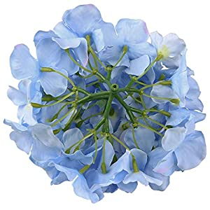 Flojery Silk Hydrangea Heads Artificial Flowers Heads with Stems for Home Wedding Decor,Pack of 10 (Blue) 3