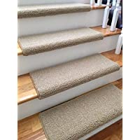 (31 Wide, Ivory)(Sold Each) Allure 100% New Zealand Wool Authentic Handmade Wool TRUE Bullnose Carpet Stair Tread Runner Replacement for Dog, Cat, Pet, Style, Comfort and Safety
