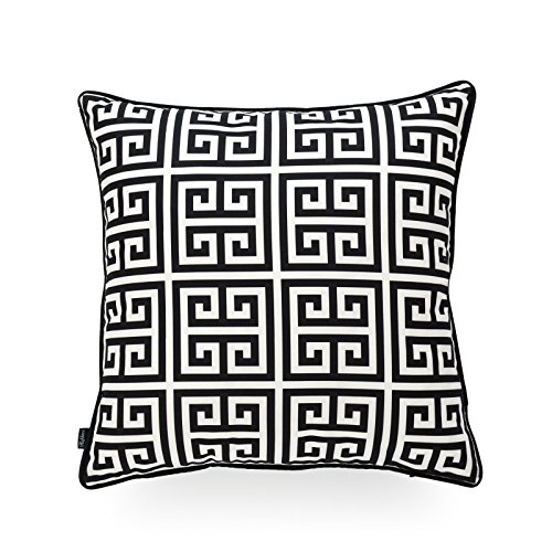 Hofdeco Indoor Outdoor Pillow Cover ONLY, Water Resistant for Patio Lounge Sofa, Black White Greek Key, - Black Key Greek